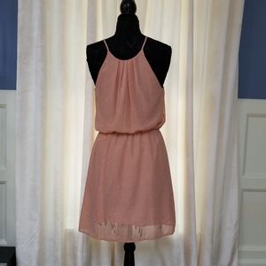 Collective Concepts Dresses - Adorable Blush and Gold Halter Dress